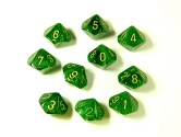Vortex Green/Gold 10d10 Dice Set