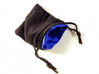 Black Velvet Blue Satin Dice Bag