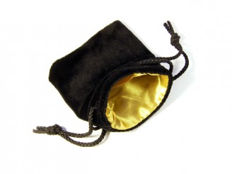 Black Velvet Gold Satin Dice Bag