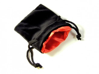 Black Velvet Red Satin Dice Bag