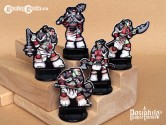 Red Clan Orc Skirmishers (Black Trim) 28mm 2D Fantasy Role-playing Game Miniatures