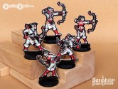 Red Clan Orc Hunters 28mm RPG Miniatures (Black Trim)