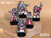Red Clan Orc Leadership 28mm RPG Miniatures (Black Trim)