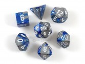 Gemini Blue/Steel Polyhedral Dice 7-piece Polyhedral Dice Set