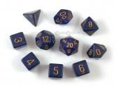 Golden Cobalt Polyhedral Dice 10-piece Polyhedral Dice Set