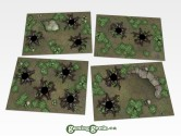 Forest Hex Grid Terrain Tiles Set #2 Set of 4 seamlessly interchangeable 7-by-10-inch hex grid terrain tiles