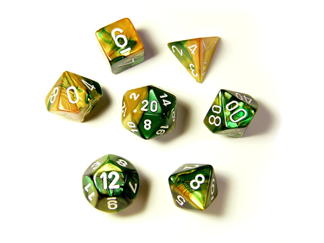 Gemini Gold/Green 7-piece Dice Set