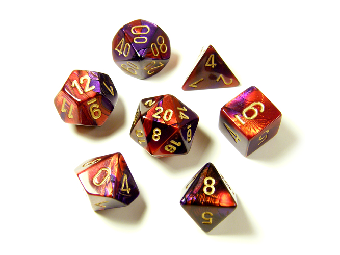 Gemini Purple/Red 7-piece Dice Set