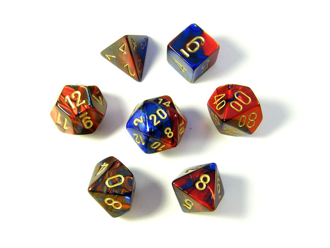 Gemini Red/Blue Polyhedral Dice