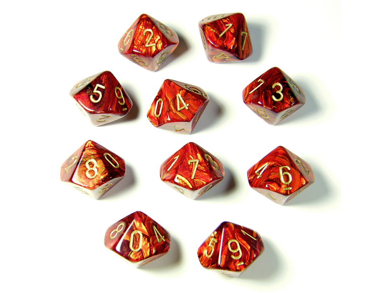 Scarab Scarlet/Gold 10d10 Dice Set