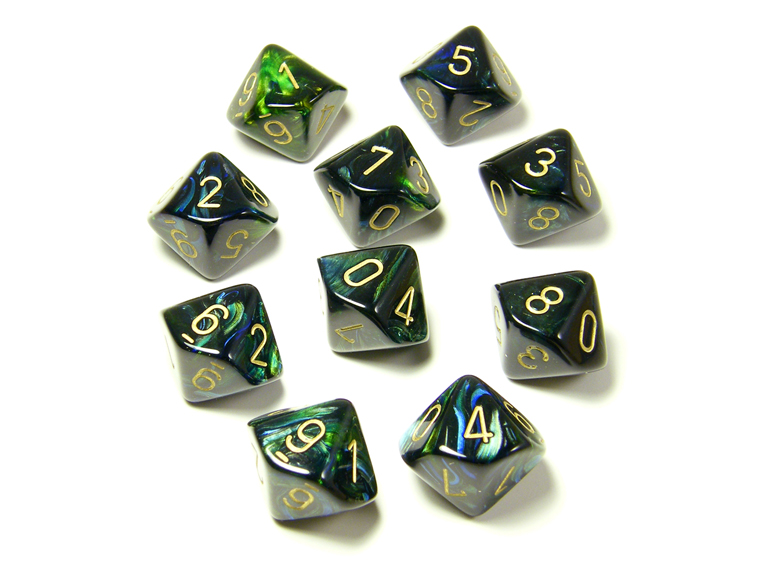 Scarab Jade/Gold 10d10 Dice Set