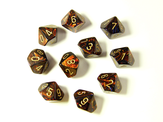 Scarab Blue Blood/Gold 10d10 Dice Set