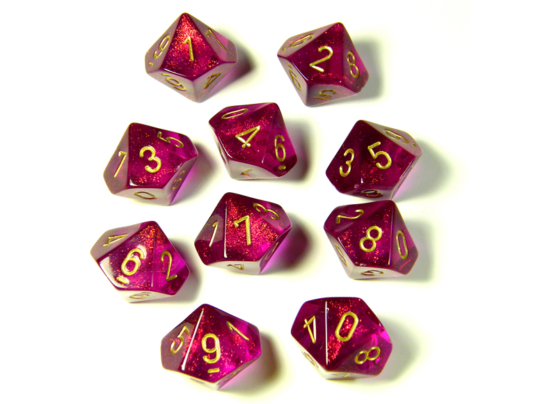Borealis Magenta/Gold 10d10 Dice Set
