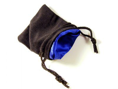 Black Velvet Blue Satin Dice Bag