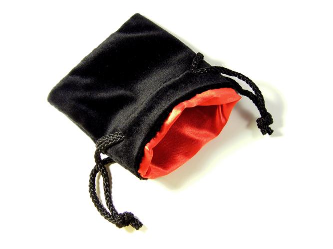 Black Velvet Red Satin Dice Bag